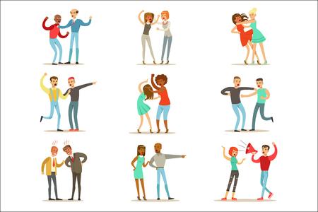 Mensen vechten en ruzie maken van een luide openbare schandaal collectie van stripfiguren agressief en gewelddadig gedrag illustraties. Twee personen kibbelen en vechten serie agressie en negatieve emoties tekeningen. Vector Illustratie