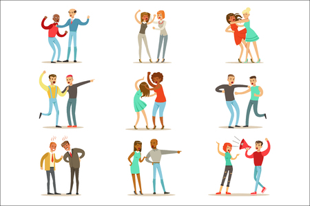 Persone che combattono e litigano facendo una raccolta di scandali pubblici rumorosi di illustrazioni di comportamenti aggressivi e violenti di personaggi dei cartoni animati. Due persone litigano e combattono serie di aggressività e disegni di emozioni negative. Vettoriali