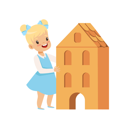 Lovely little girl playing with cardboard house vector Illustration isolated on a white background.