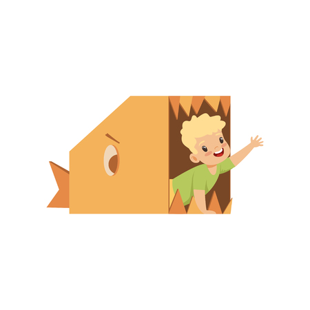 Cute boy playing inside a toothy fish made of cardboard boxes vector Illustration isolated on a white background.