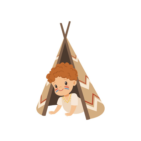 Boy sitting in a tepee tent, kid playing in American Indian vector Illustration isolated on a white background. Stock Vector - 111564086