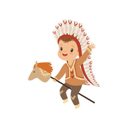Boy wearing native Indian costume and headdress riding stick horse, kid playing in American Indian vector Illustration isolated on a white background.
