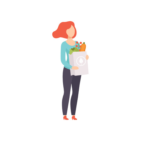 Young woman holding paper bag with healthy food, girl doing shopping at the grocery shop vector Illustration isolated on a white background. Standard-Bild - 111564092