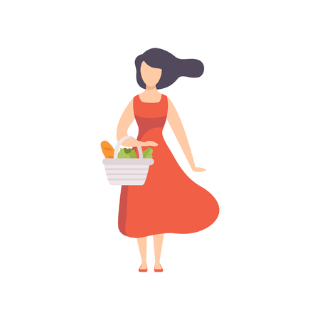 Young beautiful woman standing with basket with healthy food, girl doing shopping at the grocery shop vector Illustration isolated on a white background.