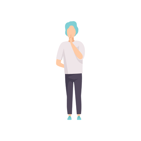 Young man showing silence sign, do not speak, be quiet gesture, faceless guy character gesturing vector Illustration isolated on a white background.