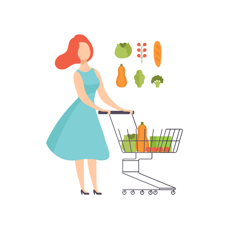 Young woman pushing supermarket shopping cart full of healthy food, girl buying vegetables at the grocery shop vector Illustration isolated on a white background. Standard-Bild - 111564096