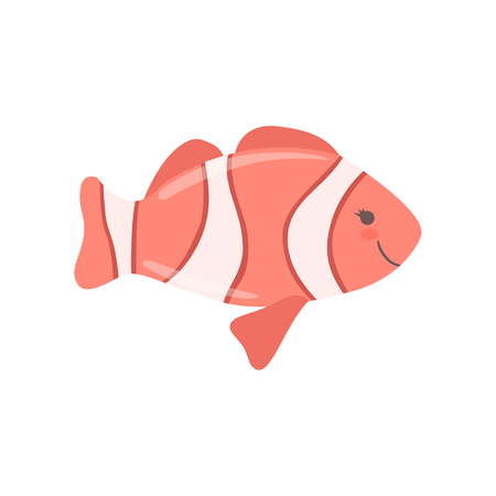 Lovely clown fish, cute sea creature character vector Illustration isolated on a white background.