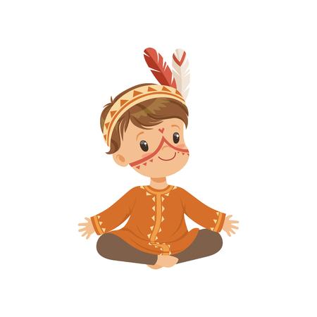 Ragazzo che indossa il costume indiano nativo e copricapo seduto sul pavimento con le gambe incrociate, bambino che gioca nel vettore indiano americano illustrazione isolato su sfondo bianco.