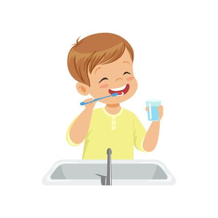 Jongen zijn tanden poetsen en spoelen met water, kind zorg voor tanden in badkamer vector illustratie geïsoleerd op een witte achtergrond.