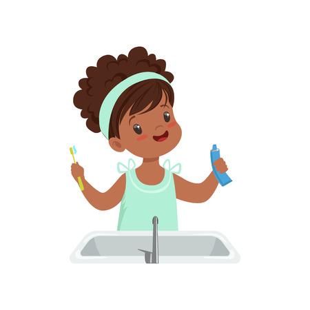 Mädchen, das Zahnpasta und Zahnbürste hält, niedliches Kind, das ihre Zähne im Badezimmer putzt Vektor Illustration lokalisiert auf einem weißen Hintergrund.