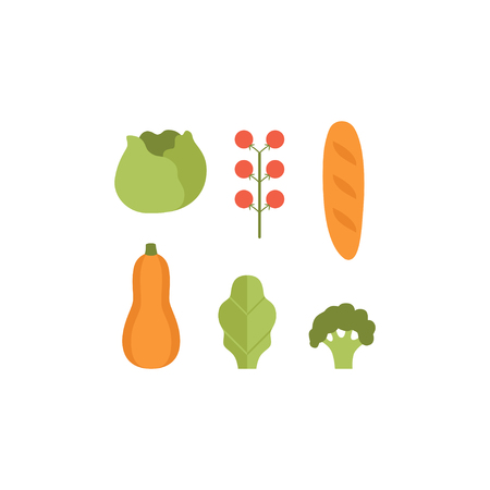 Healthy vegetarian food set, pumpkin, zucchini, cabbage, tomatoes and loaf vector Illustrations isolated on a white background.