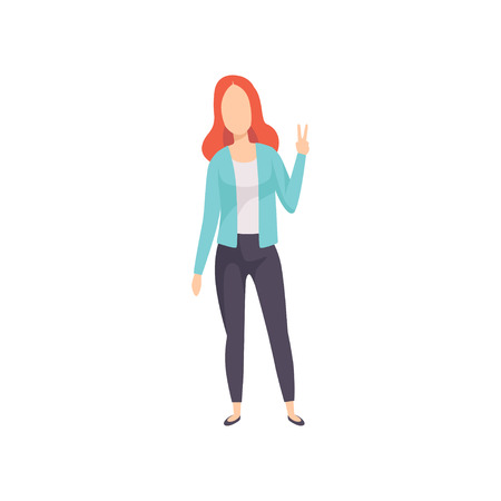 Young woman showing victory sign, success hand gesture, faceless girl character gesturing vector Illustration isolated on a white background. Ilustração