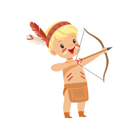 Boy wearing native Indian costume and headdress shooting a bow, kid playing in American Indian vector Illustration isolated on a white background.