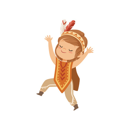 Girl wearing native Indian costume and headdress, kid playing in American Indian vector Illustration isolated on a white background.