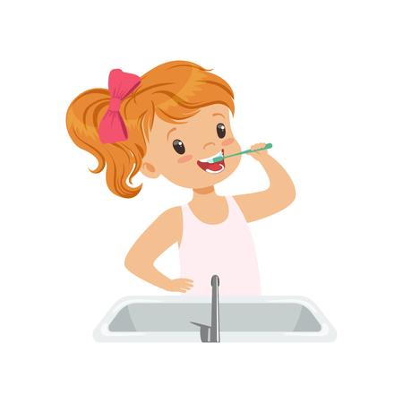 Schönes Mädchen, das ihre Zähne putzt, Kind, das sich um die Zähne im Badezimmer kümmert Vektor Illustration lokalisiert auf einem weißen Hintergrund. Vektorgrafik