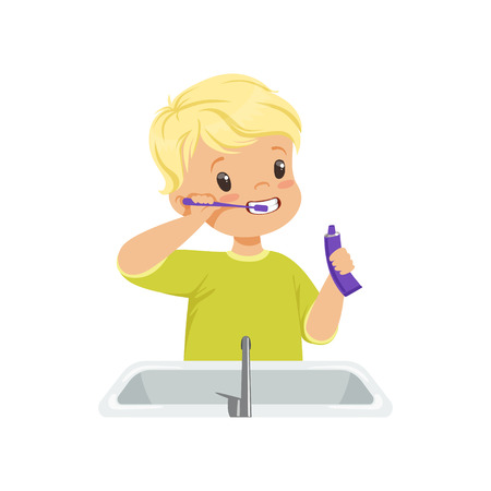 Cute boy brushing his teeth, kid caring for teeth in bathroom vector Illustration isolated on a white background. Ilustração