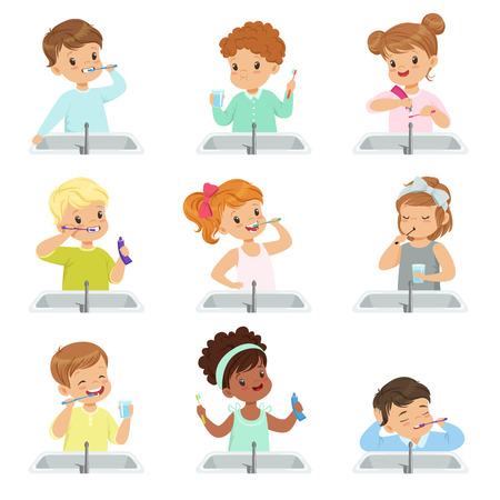 Kids brushing teeth set, cute boys and girls caring for their teeth in bathroom vector Illustration isolated on a white background.