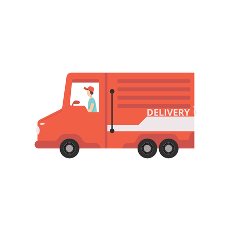 Red cargo delivery van with courier, fast shipping concept vector Illustration isolated on a white background. Illustration