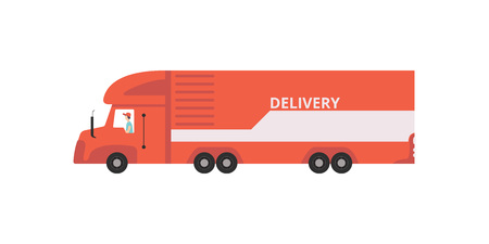 Red delivery semi trailer truck, fast shipping concept vector Illustration on a white background Illustration