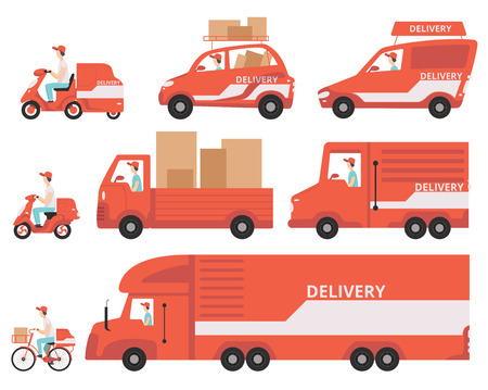 Red delivery vehicles set, express delivery concept vector Illustrations isolated on a white background.
