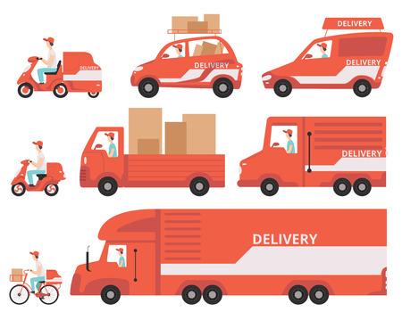 Zestaw czerwony dostawy pojazdów, koncepcja ekspresowa dostawa wektor ilustracje na białym tle na białym tle. Ilustracje wektorowe