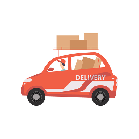 Red cargo delivery car with cardboard boxes, fast shipping concept vector Illustration on a white background
