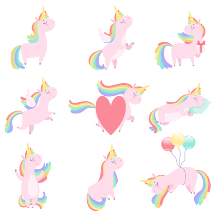 Lovely unicorn set, cute fantasy animal character with rainbow hair vector Illustrations isolated on a white background. Illustration