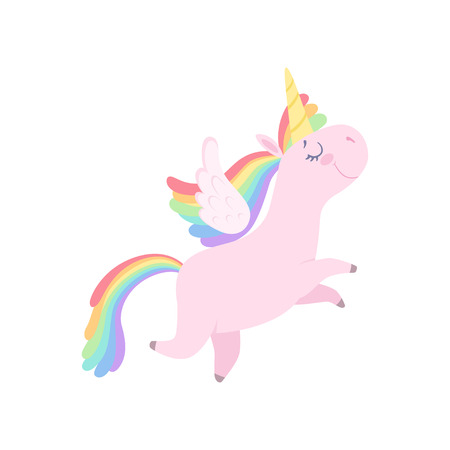 Lovely unicorn flying with wings, cute fantasy animal character with rainbow hair vector Illustration isolated on a white background.