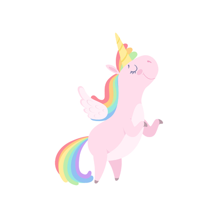 Lovely unicorn with wings, cute fantasy animal character with rainbow hair vector Illustration isolated on a white background.