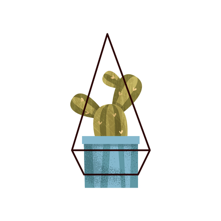 Hanging cactus house plant in a pot, elegant home or office decor vector Illustration isolated on a white background. Ilustração