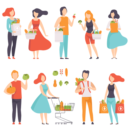 People with bags with healthy food, men and women doing shopping at the grocery shop vector Illustration isolated on a white background. Standard-Bild - 111535268