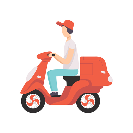 Red delivery motor bike with courier, express delivery concept vector Illustration isolated on a white background.