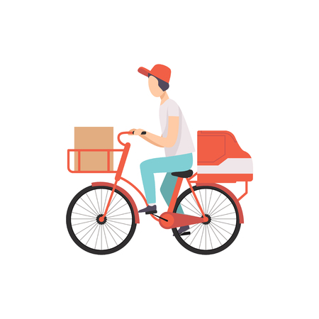 Male courier riding bicycle with cardboard boxes, fast shipping concept vector Illustration isolated on a white background.