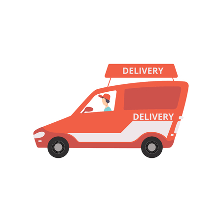 Cargo delivery van, fast shipping concept vector Illustration on a white background