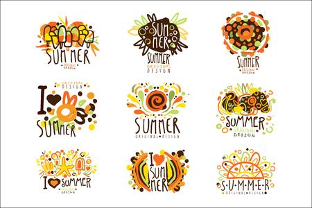 Summer set for label design. Summer travel, sea, beach, holiday, adventure vector Illustrations