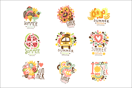 Summer holidays set for label design. Journey, adventure, beach, sea colorful vector Illustrations