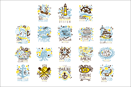 Sea club, marine club set for label design. Yacht club, sailing sports or marine travel vector Illustrations