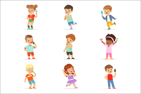 Cute little children eating ice cream. Happy children enjoying eating with their ice cream. Cartoon detailed colorful Illustrations isolated on white background Ilustração