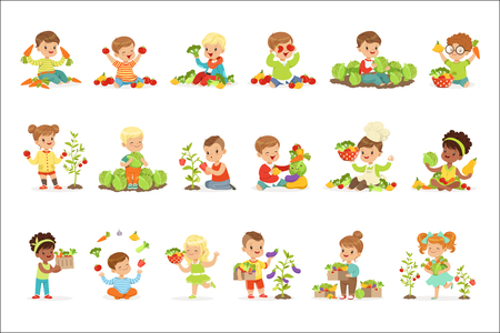 Little children having fun and playing with vegetables, set for label design. Healthy eating, dieting, vegetarian kitchen concept. Cartoon detailed colorful Illustrations isolated on white background Illustration