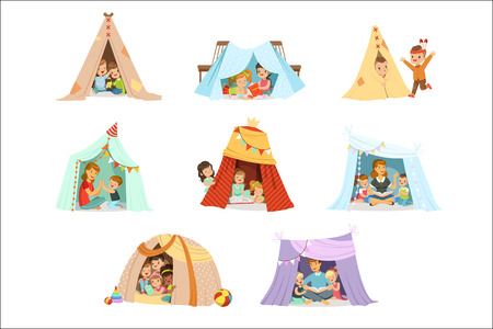 Cute little children playing with a teepee tent, set for label design. Funny lovely children having fun with their parents in children room. Cartoon detailed colorful Illustrations isolated on white background Stock Vector - 111535277