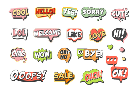 Trendy speech bubbles set for label design. Speech bubbles with short messages. Colorful cartoon detailed Illustrations isolated on white background
