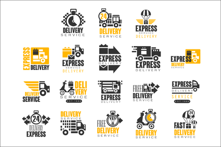 Delivery set for label design. Express delivery service vector Illustrations for stickers, banners, cards, advertisement, tags