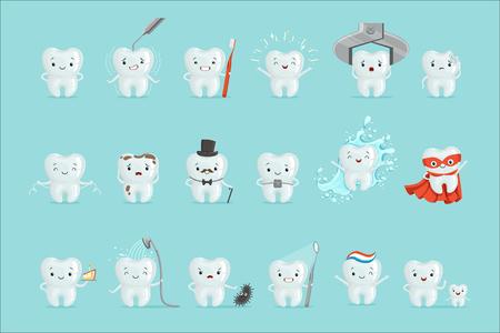 Leuke tanden met verschillende emoties ingesteld voor labelontwerp. Tandheelkunde, kindertandheelkunde, mondhygiëne. Cartoon gedetailleerde illustraties geïsoleerd op een witte achtergrond