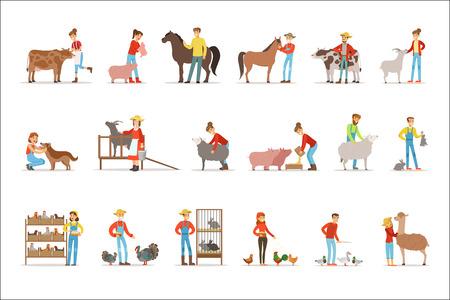 Breeding animals farmland. Farm profession worker people breeding livestock. Set of colorful cartoon detailed vector Illustrations isolated on white background 写真素材 - 111535281