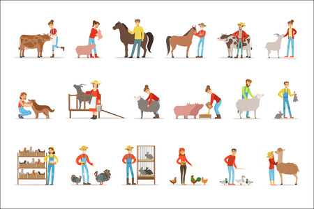 Breeding animals farmland. Farm profession worker people breeding livestock. Set of colorful cartoon detailed vector Illustrations isolated on white background