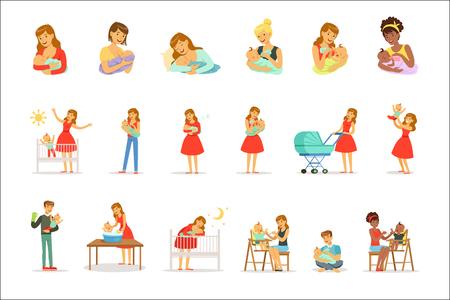 Mamá y anuncio cuidan a sus hijos para el diseño de etiquetas. Familia alegre feliz. Personajes de dibujos animados coloridos aislados sobre fondo blanco