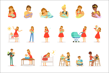Mom and ad take care of their children set for label design. Happy cheerful family. Colorful cartoon characters isolated on white background Çizim
