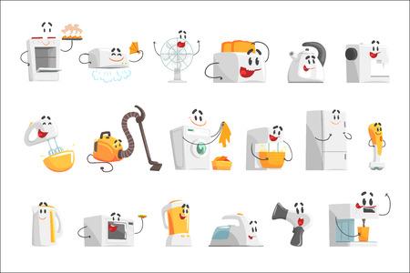 Lächelnde Haushaltsgeräte für Etikettendesign. Elektrische Haushaltsgeräte als Zeichentrickfiguren. Bunte detaillierte Vektorillustrationen isoliert auf weißem Hintergrund Vektorgrafik