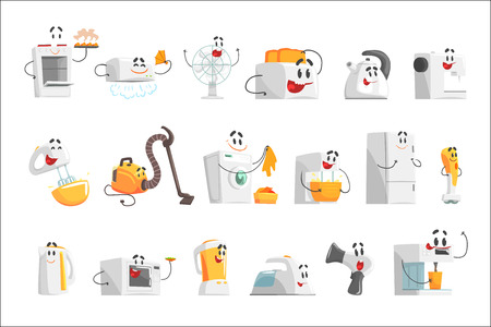 Smiling household appliances set for label design. Home electrical equipment as cartoon characters. Colorful detailed vector Illustrations isolated on white background
