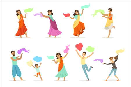 Smiling people dancing in national Indian costumes set for label design. Indian dance, Asian culture, cartoon detailed colorful Illustrations isolated on white background Stock Illustratie